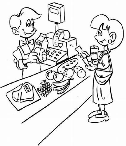 Coloring Grocery Pages Cashier Jobs Pokemon Popular