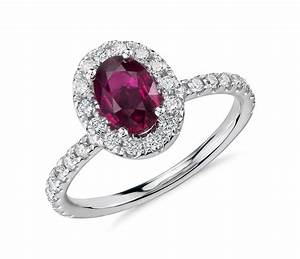oval ruby and diamond ring in 18k white gold 7x5mm With diamond and ruby wedding rings
