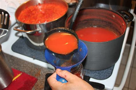 juice tomato canning fresh making recipe simple using jars fill tomatoes fall down ladle garden oldworldgardenfarms