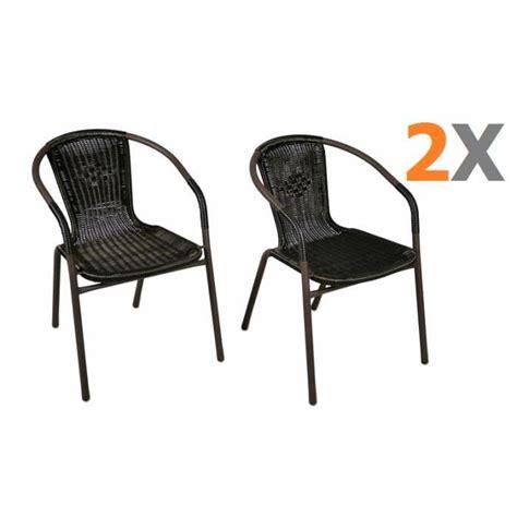 chaise de jardin empilable 2 x chaises bistro poly rotin noir empilable achat