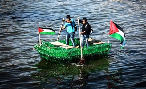 Boat Stuck In A Bottle by Palestinians Build Boat Using Recycled Bottles Ummid