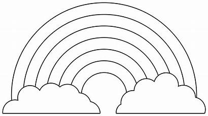Rainbow Coloring Clipart Template Outline Clouds Colouring
