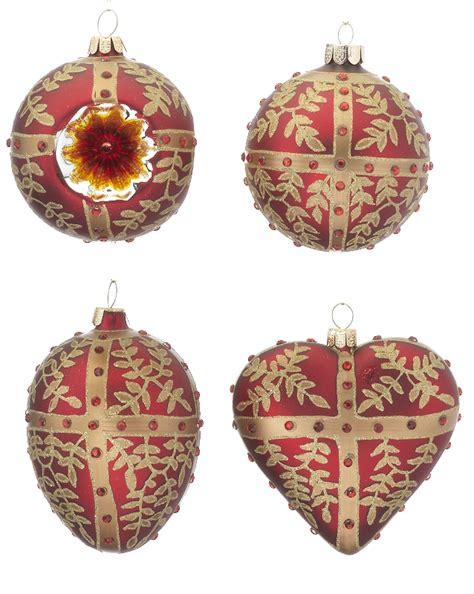 red ornaments set of 4 personalized ornament