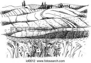 Clip Art Black and White Countryside