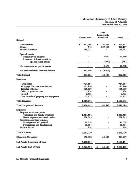sle financial report for non profit organization 100