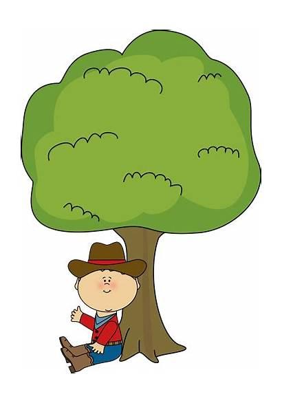 Under Tree Clipart Clip Sitting Cowboy Below