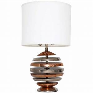 American modernist copper and silver plate table lamp for F k a table lamp
