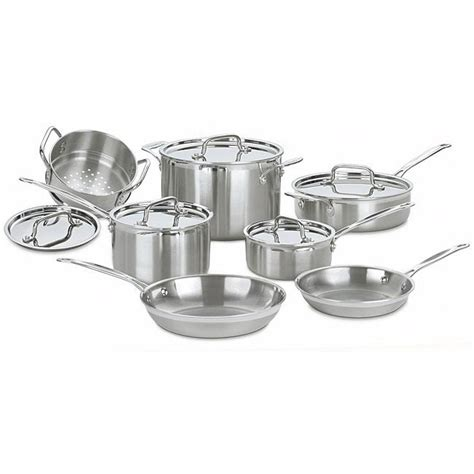 shop cuisinart multiclad pro stainless steel  piece cookware set  shipping today