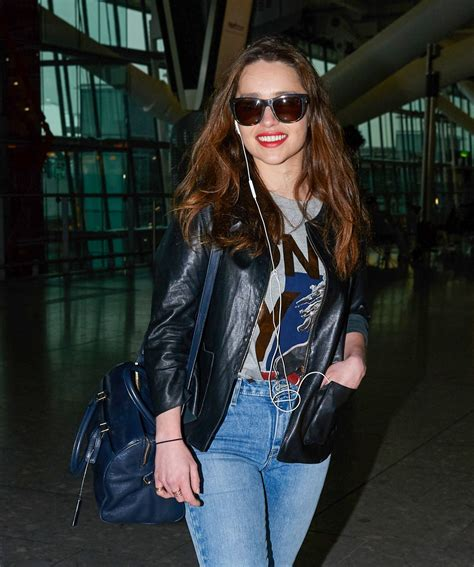 Emilia Clarke In Jeans At Heathrow Airport In London
