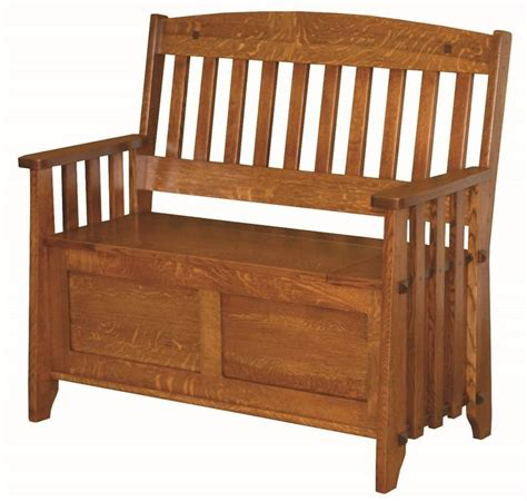 Storage Bench Seat With Back by Amish Stick Mission Storage Bench With Lift Seat In 2019
