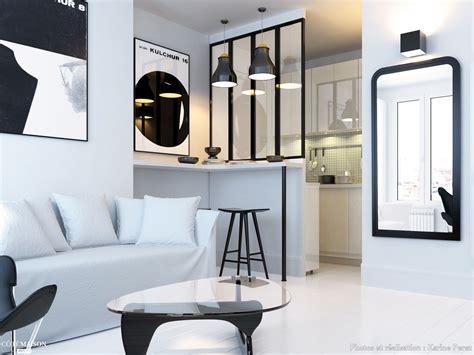 renovation dun studio de   en noir  blanc paris
