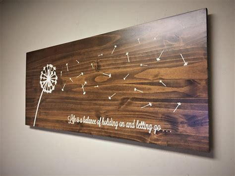 Dandelion Home Decor, Wood Wall Art, Dandelion Art, Rustic