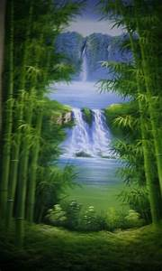 Custom Hand Painted Landscape / Bamboo Oil Painting ...