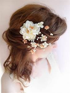 Peach Wedding Hair Clip Bridal Flower Headpiece Ivory