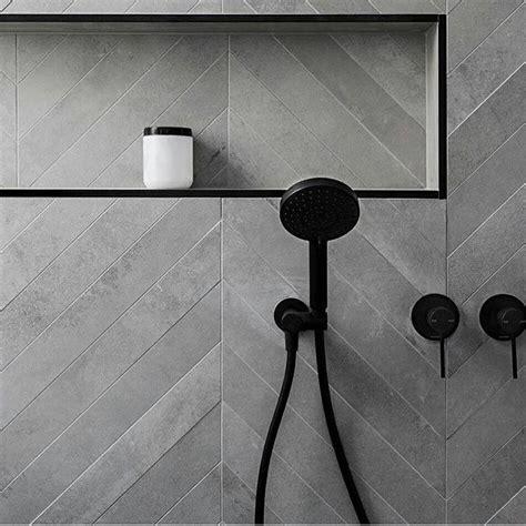Chevron Bathroom Ideas by Black Tapware And Trim Chevron Tiles Bathroom Wc