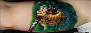 Men Stomach Angry Big Face Tattoo Of Reptile Snake Cobra ...