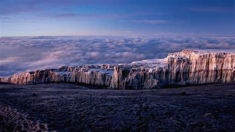 ice mountains clouds tanzania mount kilimanjaro bing