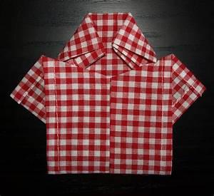 Pliage De Serviette En Tissu : pliage en papier r aliser une chemise ou chemisette ~ Nature-et-papiers.com Idées de Décoration