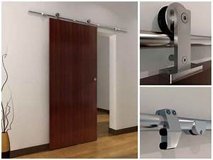 interior sliding doors are space savers With chrome barn door track