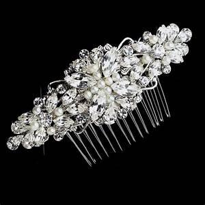 Freshwater Pearl Rhinestone Silver Bridal Hair Comb