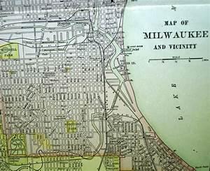 MILWAUKEE WISCONSIN CITY STREET MAP 1912 VINTAGE ...