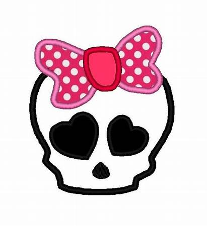Skull Girly Bow Applique Instant Painting