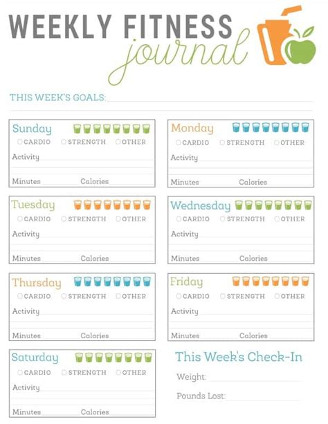 food and exercise journal template free printable fitness journal