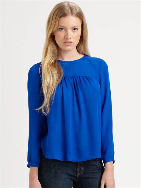 rebecca taylor gathered blouse  blue lyst