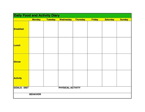 food log template printable  excel format excel template