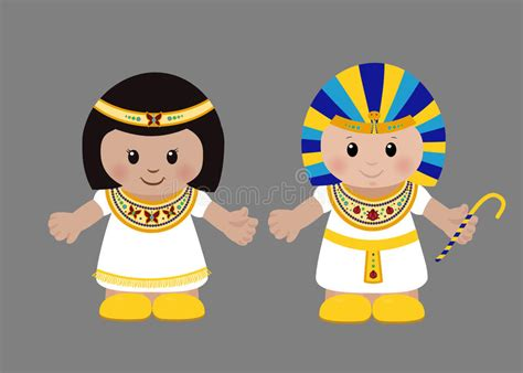 Pharaoh And Cleopatra In Ancient Egyptian Clothing. Stock
