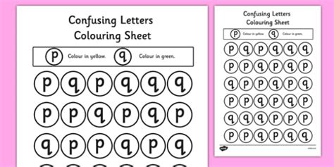 free confusing letters colouring worksheets p and q words vocab