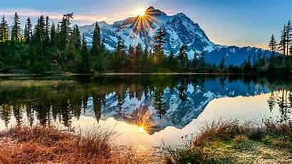 Mountain Sun Forest Landscape Rays Desktop Wallpapers