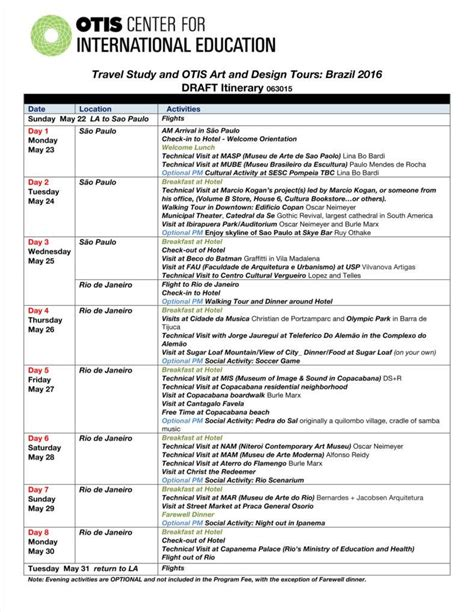 itinerary template 9 travel calendar exles free word pdf excel format free premium templates