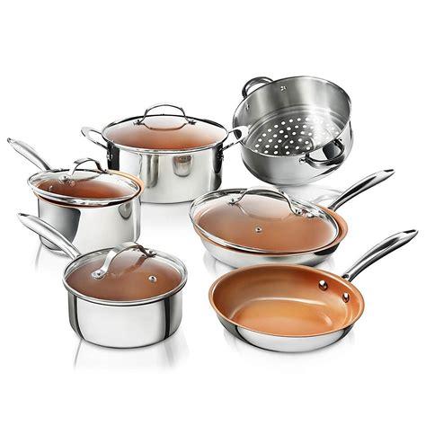 gotham steel stainless steel  piece pro chef cookware set premium copper nonstick pots