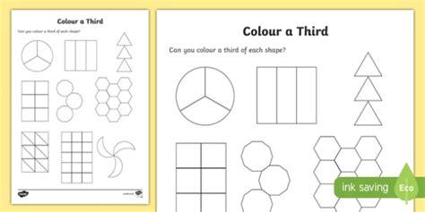 Colour A Third Worksheet / Activity Sheet, Worksheet