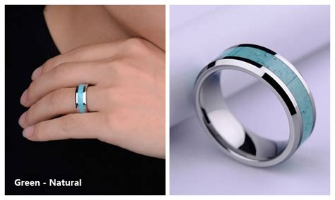 turquoise inlay tungsten wedding band unique natural