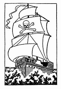 Black and White Clip Art - Pirate Ship - The Graphics Fairy