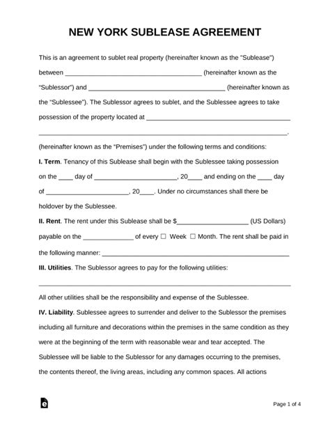 ny residential lease agreement free new york sublease agreement template pdf word eforms free fillable forms