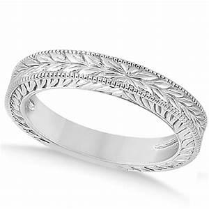 Vintage Carved Filigree Leaf Design Wedding Band 14k White