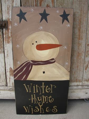 primitive snowman  stars painted wood sign