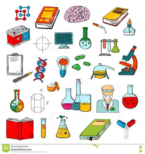physics chemistry medicine science research icon stock