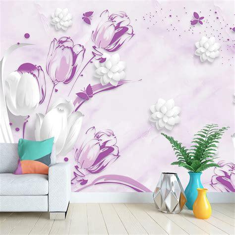 Фотообої Білі та фіолетові тюльпани купити на стіну • Еко ...