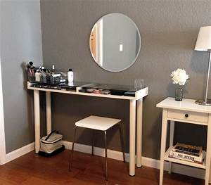 Custom Corner Makeup Vanity Table With Makeup Storage
