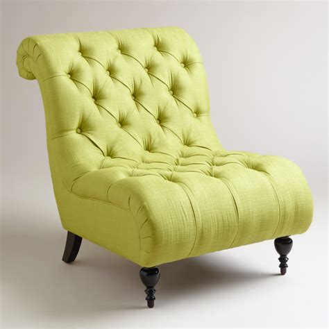 green tufted slipper chair contemporary