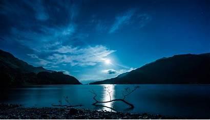 Moon Night Water Mountain Lake Reflection Scotland