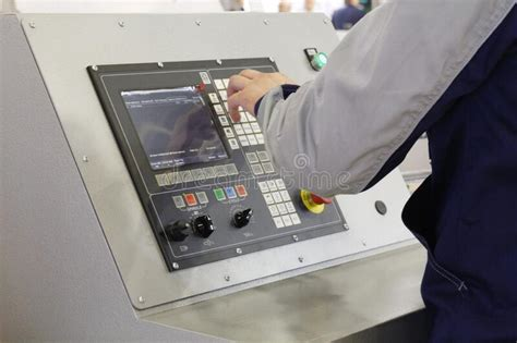 man working  programmable machine stock image image  industrial business