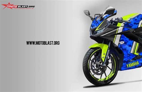 modifikasi striping yamaha all new r15 black blue army motoblast