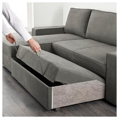 Vilasund Sofa Bed With Chaise Longue Borred Greygreen Ikea