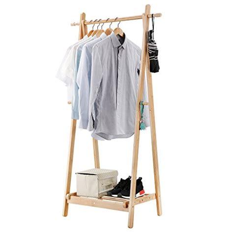 foldable bamboo clothes laundry rack storage   side hooks  shoe shelf ebay