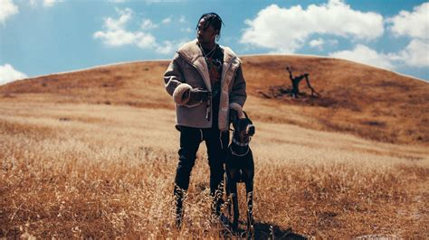 travis scott  standing  dog  dry grass  cloudy